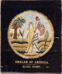 "One of our most famous needleworks, ""America"" by Eliza Camp, c. 1810, is from Connecticut. Gift of Marguerite Durkee and the Stephen Decatur Chapter, NSDAR"