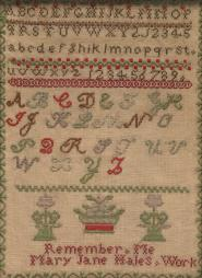 1868 sampler by Mary Jane Hales, Gift of California State Society in honor of Linda Gist Calvin, President General, NSDAR, 2007-2010; Nancy B. Alexander, Vice President General, 2007-2010; and Anne D. Lampman, State Regent, California State Society DAR, 2006-2008.