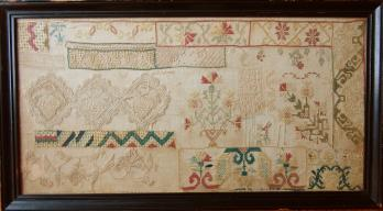1810 Sampler, Monterey area, California. Purchased and conserved with funds donated by Joan Peters, Widbey Island Chapter, WA