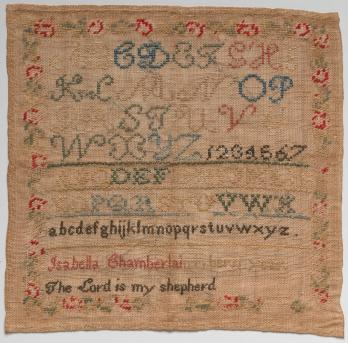 "Isabella's sampler of wool and silk on linen, made at age ten (""in her 11 year"") in 1848. Friends of the Museum Purchase."
