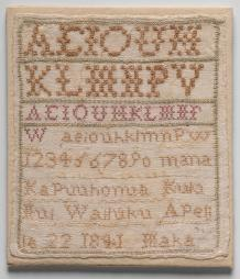 Maka's sampler dated 1841. Friends of the Museum Purchase.