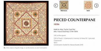 Example of one quilt and its information from eyeonelegance.dar.org
