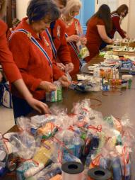 The National Board of Management contributed items to put in toiletry packages for Veterans