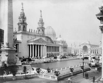 Palace of Mechanic Arts and lagoon at the World's Columbian Exposition, Chicago, Illinois, Library of Congress, 1892