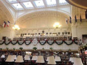 Christmas garland is hung in the DAR Library