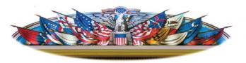 The enlarged picture of the Heritage Club lapel pin that each member received at Continental Congress Heritage Club events in 2017. This picture represents the iconic flag mural, which adorns the lunette above the stage in Constitution Hall and includes various Revolutionary battle flags.