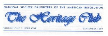 The masthead of our very first Heritage Club newsletter!