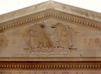 The front of Constitution Hall which faces 18th Street, has a beautiful eagle detail at the very top