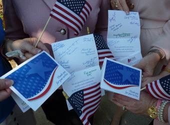 Cards that we signed and gave to the WWII veterans to thank them for their service.