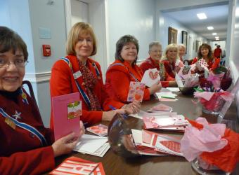 Signing Valentine's Day cards for our Veterans