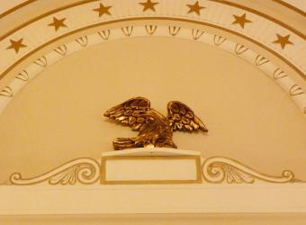 On the walls in the President General's Assembly Room there are beautiful eagles