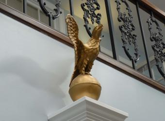 This eagle is located in the atrium of the Administration Building