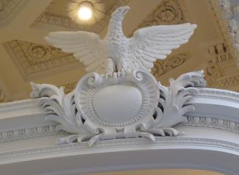 Eagles adorn the opera boxes in the DAR Library